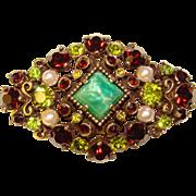 Fabulous PERIDOT GREEN & Red Rhinestone Vintage Brooch