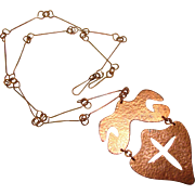 Awesome Hammered COPPER Vintage Pendant Necklace