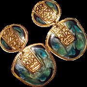 Gorgeous Edgar Berebi Green Enamel Dangle Clip Earrings