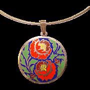 Fabulous LUNT Enameled Pendant on Choker Ring Necklace
