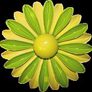 Huge 1960's GREEN Enamel Flower Power Brooch