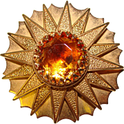 Gorgeous AMBER Givre Glass Stone Vintage Brooch