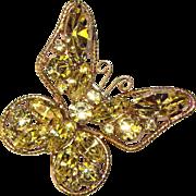 Fabulous BUTTERFLY Yellow Rhinestone Vintage Estate Pin Brooch