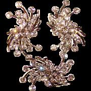 Fabulous SPARKLING RHINESTONE Vintage Brooch and Huge Earrings Set