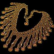 Fabulous Vintage LIGHT TOPAZ Bezel Set Crystal Stones Necklace