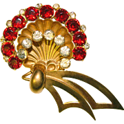 Gorgeous 1940's WALTER LAMPL Red Rhinestone Brooch