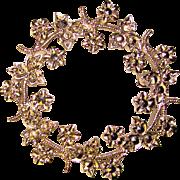 Gorgeous STERLING & MARCASITE Vintage Wreath Brooch