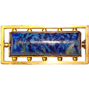 Fabulous Signed BLUE GLASS Vintage Brooch