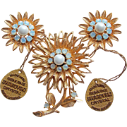Gorgeous Vintage Brooch Set - Swarovski Crystal Tags