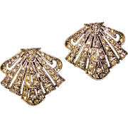 Fabulous ART DECO Rhinestone Dress Clip Brooch Set