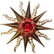Fabulous REJA STERLING Red Starburst Vintage Pendant Brooch