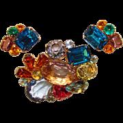 Fabulous Colored Glass & Rhinestone Vintage Brooch Set