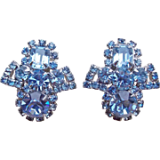 Gorgeous Ice Blue Rhinestone Vintage Earrings