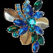 Gorgeous Blue & Green Rhinestone Vintage Brooch