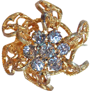 Tiny Antique Rhinestone Brooch