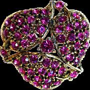 Gorgeous Fuchsia Pink Rhinestone Vintage Brooch