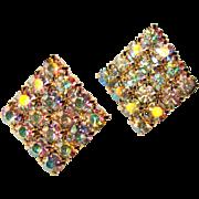 Fabulous Large AURORA RHINESTONE Vintage Clip Earrings