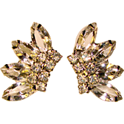 Gorgeous NAVETTE RHINESTONE Vintage Clip Earrings