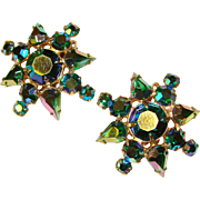 Fabulous PEACOCK GREEN and BLUE Aurora Rhinestone Vintage Clip Earrings