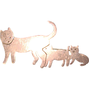 Awesome MEXICAN STERLING Cat and Kittens Brooch