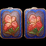 Gorgeous ENAMELED IRIS Design Vintage Clip Earrings