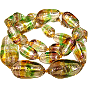 Fabulous FOIL GLASS Green Amber Clear Beads Vintage Necklace