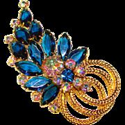 Fabulous D&E JULIANA Vintage Capri Blue & Aurora Rhinestone Brooch