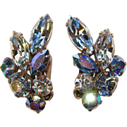 Fabulous Ice Blue & Royal Blue Aurora Navette Rhinestone Vintage Earrings
