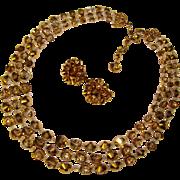 Fabulous HOBE Three Strand Bronze Crystal Necklace Set