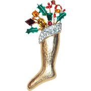 Gorgeous WEISS CHRISTMAS Stocking Signed Vintage Brooch