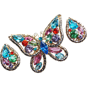 Fabulous WEISS Signed Color Rhinestone Butterfly Vintage Set