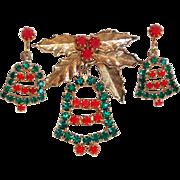 Festive CHRISTMAS BELLS Rhinestone Vintage Brooch Set
