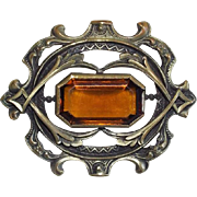 Antique Victorian Amber Glass Sash Pin Brooch