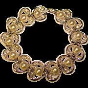 Gorgeous FAUX PEARL & Rhinestone Vintage Bracelet