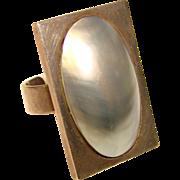 Fabulous MABE PEARL Huge Blister Pearl Sterling Modernist Ring
