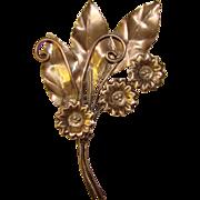 Gorgeous STERLING SILVER Large Flower Design 1940's Brooch