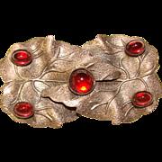 Gorgeous DECO ERA Red Glass Stones Estate Brooch