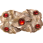 Gorgeous DECO ERA Red Glass Stones Estate Brooch
