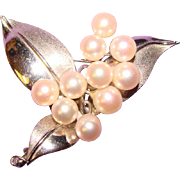 Gorgeous Sterling & Cultured Akoya Pearl Vintage Brooch