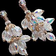 Fabulous AURORA CRYSTAL Long Vintage Dangle Earrings