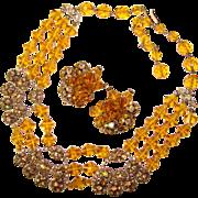 Fabulous AMBER CRYSTAL & Aurora Rhinestone Ball Festoon Necklace Set