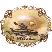 Fabulous REAL GOLD NUGGET Vintage Alaska Brooch