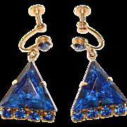 Gorgeous BLUE RHINESTONE Triangle Stone Vintage Dangle Earrings