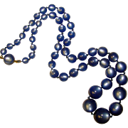 Gorgeous Blue MOONGLOW LUCITE Vintage Beads Necklace
