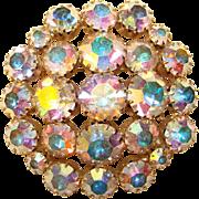 Fabulous Aurora Rhinestone Vintage Brooch