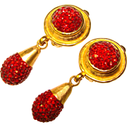 Fabulous Sparkling RUBY RED Rhinestone Dangle Clip Earrings