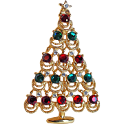Gorgeous 1980's CHRISTMAS TREE Vintage Rhinestone Brooch