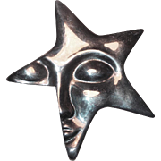Fabulous Sterling Star Face Mexican Vintage Brooch