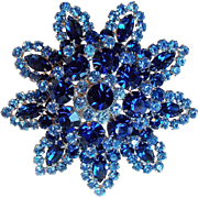 Huge D&E JULIANA Blue Rhinestone Vintage Brooch