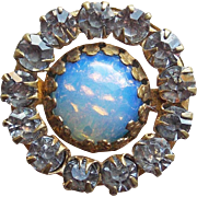Tiny Victorian Opalescent Glass Rhinestone Brooch - for Doll or Lapel